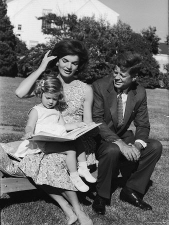 Presidential Candidate Senator Jack Kennedy with His Wife Jacqueline and Daughter Caroline Photographic Print by Paul Schutzer