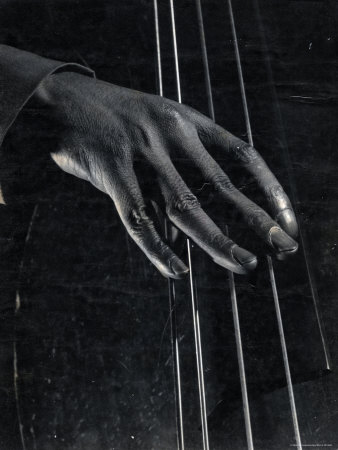 Hand of Bass Player on the Strings During Jam Session at Photographer Gjon Mili's Studio Photographic Print by Gjon Mili