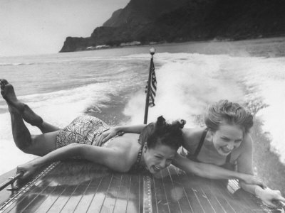 Betty Brooks and Patti McCarty Motor Boating at Catalina Island Photographic Print