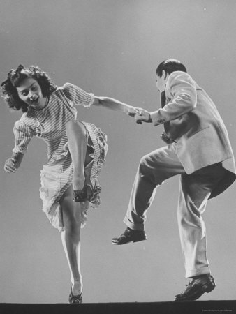 Kaye Popp and Stanley Catron Demonstrating a Step of the Lindy Hop Photographic Print by Gjon Mili