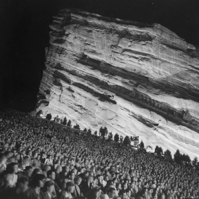 Audience Members Enjoying the Natural Acoustics of the Red Rocks Amphitheater During a Concert Photographic Print by John Florea