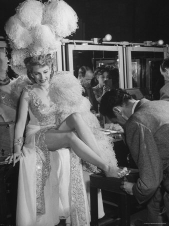 """Chorus Girl Getting a Pedicure During Filming of the Movie """"The Ziegfeld Follies"""" Photographic Print by John Florea"""