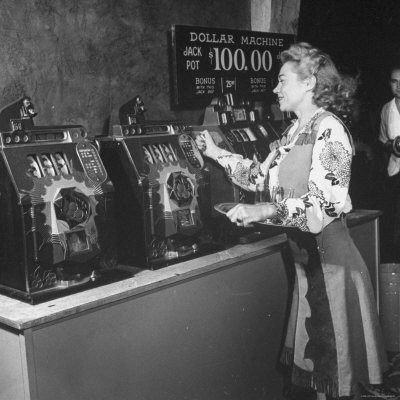 Woman Participating in WWII War Bond Rally in Gambling Casino Photographic Print by John Florea