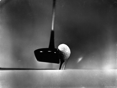Close Up Shot of Driver Club Head Impacting Ball on Tee Photographic Print by Gjon Mili
