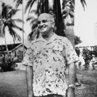 President Harry S. Truman, Arriving in Key West Wearing Hawaiian Shirt Photographic Print by George Skadding