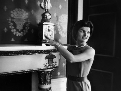 First Lady Jacqueline Kennedy Showing Off James Monroe Era Candelabrum in White House Photographic Print by Ed Clark