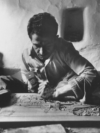Greek Mountain Villager Engaged in Woodworking During the Winter Photographic Print by James Burke