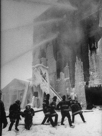 Firemen Fighting a Fire During Icy Weather Photographic Print