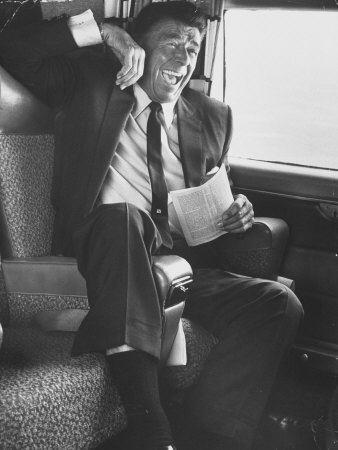 Jubilant Ronald Reagan Celebrating His Victory For Governor During California Gubernatorial Primary Photographic Print by John Loengard