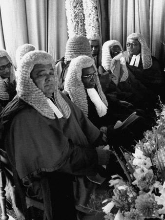 Judges Waiting to Meet Queen Elizabeth II Photographic Print by James Burke