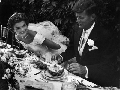 Senator John F. Kennedy and Bride Jacqueline Enjoying Dinner at Their Outdoor Wedding Celebration Photographic Print by Lisa Larsen