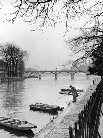 Rowboats Tied Up Along the Seine River Photographic Print by Ed Clark