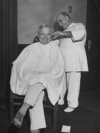 President Harry S. Truman Getting a Haircut Photographic Print by George Skadding
