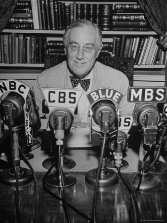 President Franklin D. Roosevelt, Broadcasting a Speech over the Radio from the White House Photographic Print by George Skadding