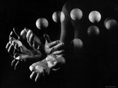 Stroboscopic Image of Hands of Juggler Stan Cavenaugh Juggling Balls Photographic Print by Gjon Mili
