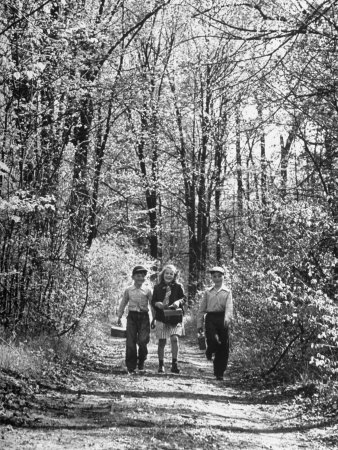 Three Children on Their Way to School During the Last Week Photographic Print by Thomas D. Mcavoy
