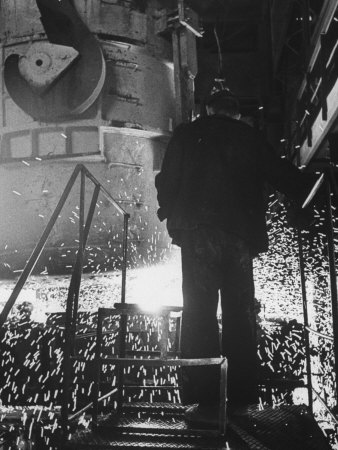 Worker in a Steel Mill in Moscow Photographic Print by James Whitmore