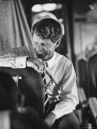 Senator Robert F. Kennedy Aboard Plane Traveling to Campaign For Local Democrats Photographic Print by Bill Eppridge