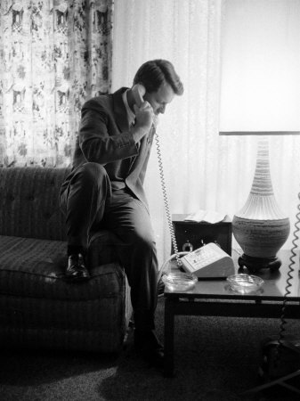 Robert F. Kennedy Talking on Phone Photographic Print by Hank Walker