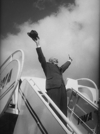 President Dwight D. Eisenhower, During Arrival For Summit Conference Photographic Print by Ed Clark