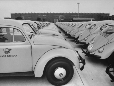 Parking Lot Outside of Volkswagen Plant Filled with Volkswagen Cars Photographic Print by James Whitmore