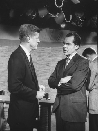 Presidential Candidate John F. Kennedy Speaking to Fellow Candidate Richard M. Nixon Photographic Print by Ed Clark