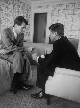Senator John F. Kennedy and Brother Robert F. Kennedy Conferring in Hotel Suite During Convention Photographic Print by Hank Walker