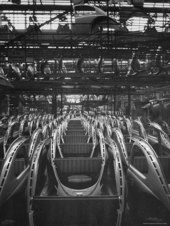 Volkswagen Plant Assembly Line of Car Frames Photographic Print by James Whitmore