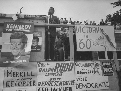 Senator John F. Kennedy During Campaign For Presidency Photographic Print by Paul Schutzer