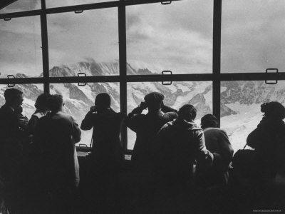Tourists Viewing the Alps Photographic Print by James Burke