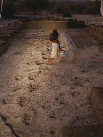 An Anthropoligist Examines 3.6 Million-Year-Old Laetoli Prints Photographic Print by Kenneth Garrett