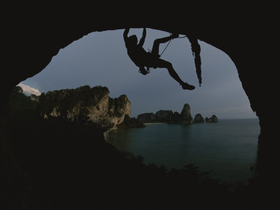 A Climber Negotiates an Overhang on the South Coast of Thailand Photographic Print by Bobby Model