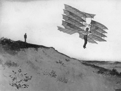 A Glider Rider Jumps off a Dune at the Chanute Gliding Camp on the Shores of Lake Michigan Photographic Print by Dr. Gilbert H. Grosvenor