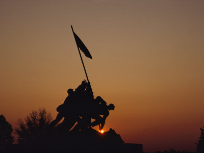 Silhouette of the Iwo Jima Monument at Twilight Photographic Print by Kenneth Garrett