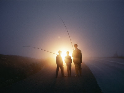 Three Men Walking Toward Their Car after a Day Spent Trout Fishing Photographic Print by Sam Abell
