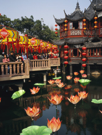 Tea House in Shanghais Yuyuan Garden during Chinese New Year Photographic Print by  xPacifica