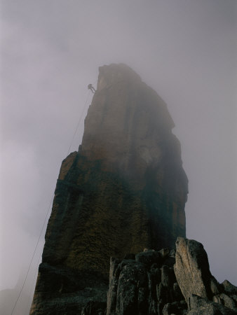 Climber Descending El Obelisco in Bolivia Photographic Print by Bobby Model!