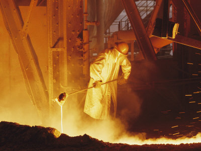 View of a Steel Worker Working in Protective Clothing Photographic Print by Joe Scherschel