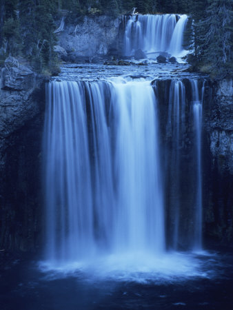 Twilight View of Colonnade Falls and Surrounding Evergreen Forest Photographic Print by Tom Murphy