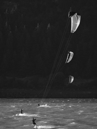 Kiteboarders in the Columbia River Gorge Photographic Print by Skip Brown