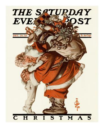 Hug from Santa, c.1925 Prints by Joseph Christian Leyendecker