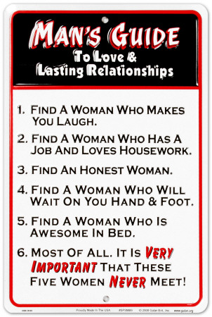 Guide to Lasting Relationships - Man Blikskilt