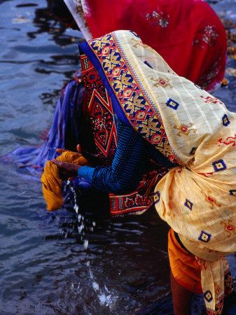 Women Washing Saris at Man Mandir Ghat, Varanasi, Uttar Pradesh, India Photographic Print by Richard I'Anson