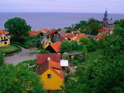 Rooftops Nestled Amongst Trees, Gudhjem, Bornholm, Denmark Photographic Print by Anders Blomqvist