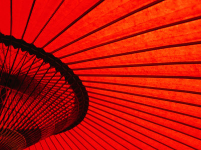 Looking Through Red Bangasa, an Oiled Rice Paper Umbrella, Japan, Photographic Print by Oliver Strewe