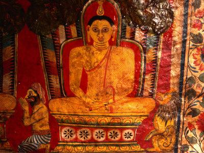Paintings of Buddha in Mulkirigala Rock Temple Near Tangalla, Tangalla, Sri Lanka Photographic Print by Anders Blomqvist
