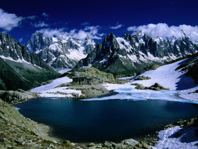 Lac Blanc y el macizo del Mont Blanc en el Tour Du Mont Blanc, Alta Saboya, Mont Blanc, Francia Lámina fotográfica por Gareth McCormack