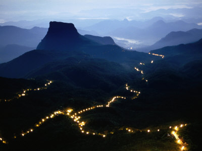 A Long Line of Lights Illuminates the Path to Adam's Peak During the Poya Festival, Sri Lanka Photographic Print by Greg Elms