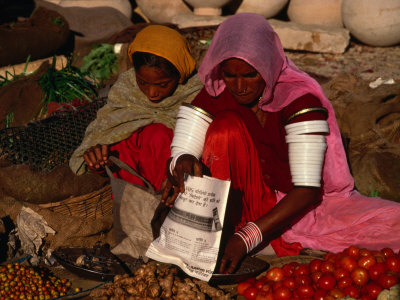 Women Selling Vegetables and Nuts at Jaisalmer Street Market, Jaisalmer, Rajasthan, India Photographic Print by Jane Sweeney