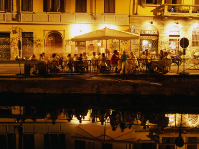 Restaurant along Canal Naviglio Grande, Milan, Italy Photographic Print by Martin Moos